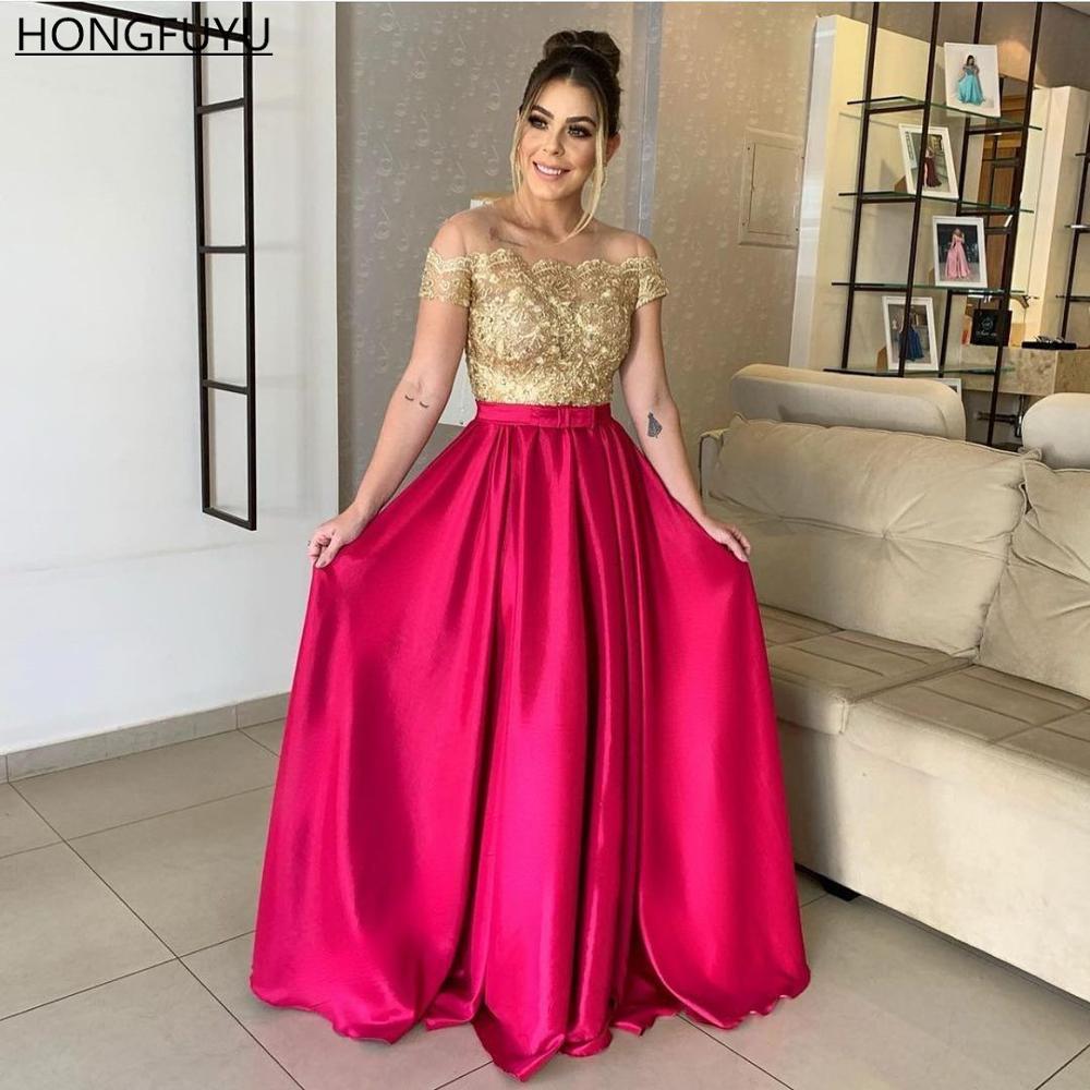 HONGFUYU Off Shoulder Satin Prom Dress вечерние платья A-line Long Fuchsia Lace Top Evening Dresses vestido de fiesta Party Gown