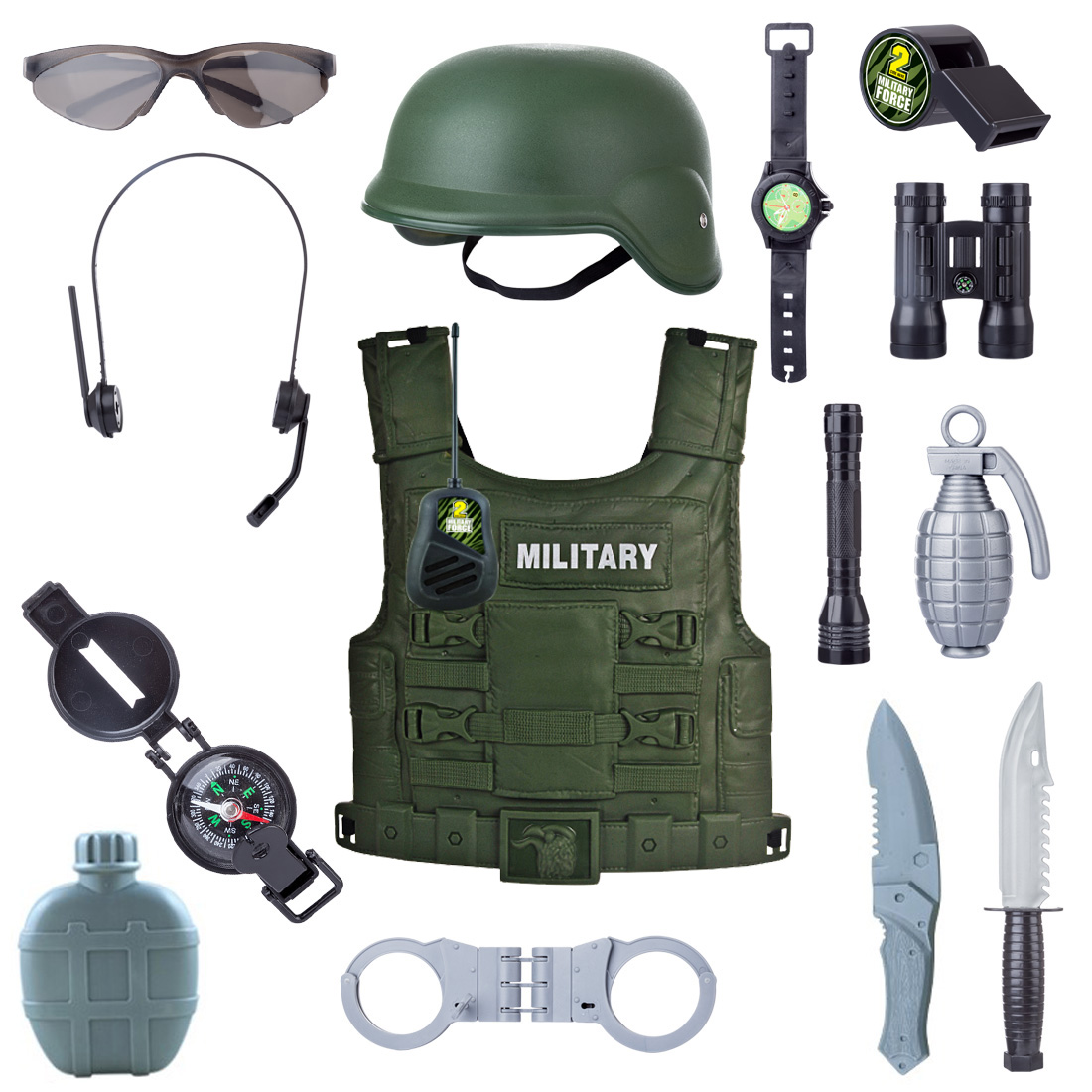 New Popular 8/12/14Pcs Children Simulation Policeman Role Play Kits Military Combat Pretend Playset Boys Christmas Best Gift