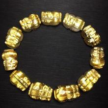 TOP คุณภาพบราซิลบราซิลธรรมชาติ Rutilated ทองไทเทเนียมสร้อยข้อมือควอตซ์ 14x10x9 มม.ผู้หญิงคนรวยคริสตัลใบรับรอง AAAAAA