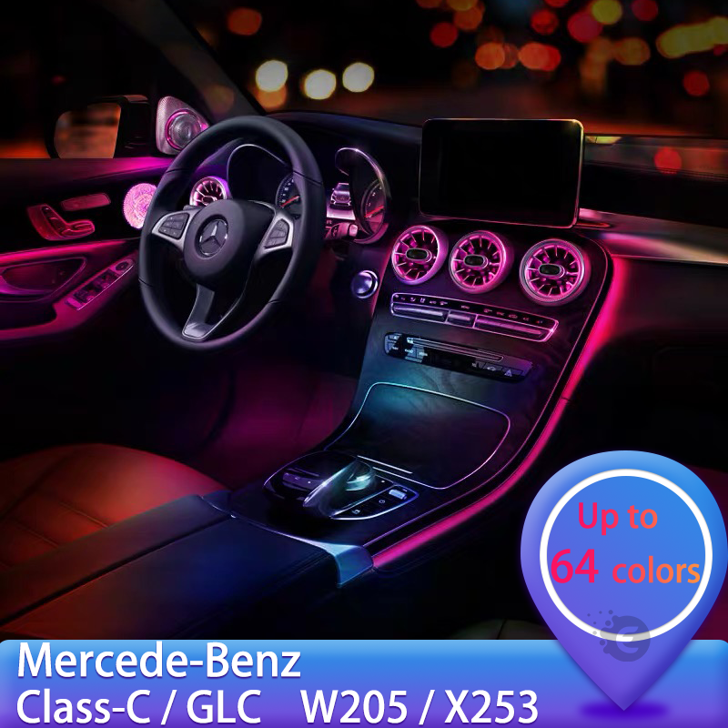 LED Turbine Air Vent Decoration Car Light For Mercedes Benz A /C /E/ GLC/ CLA Class W205 W213 X253 W117 Car Accessories
