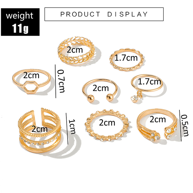Tocona 8pcs/sets Bohemian Geometric Rings Sets Clear Crystal Stone Gold Chain Opening Rings for Women Jewelry Accessories 9012 2