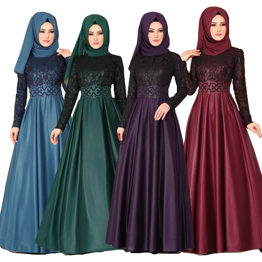 Ramadan Muslim Women Vintage Lace Long Sleeve Maxi Dress Abaya Kaftan Jilbab Dubai Islamic Party Robe Gown Turkey Clothing Dress
