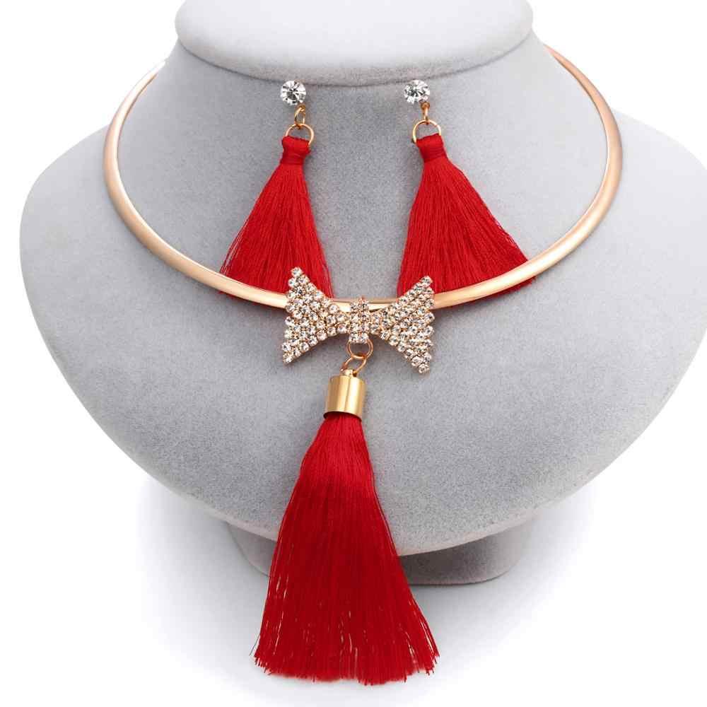 ドバイカラフルなタッセルジュエリーセット織り女性の弓クリスタルドロップイヤリングゴールドトルクロングセーター真珠のペンダントネックレスセット