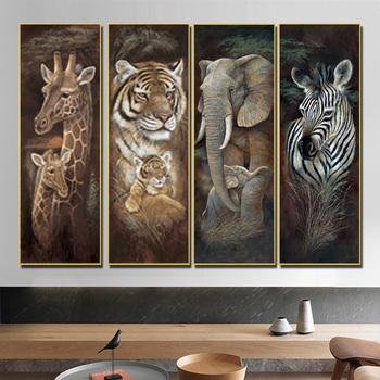 Tygrys żyrafa słoń Zebra ściana płótno artystyczne drukuj zwierząt malarstwo plakaty i druki wystrój w stylu Vintage obraz ścienny do salonu tanie i dobre opinie CN (pochodzenie) Płótno wydruki Pojedyncze Na płótnie Wodoodporny tusz Rysunek malarstwo Unframed Nowoczesne PF3327