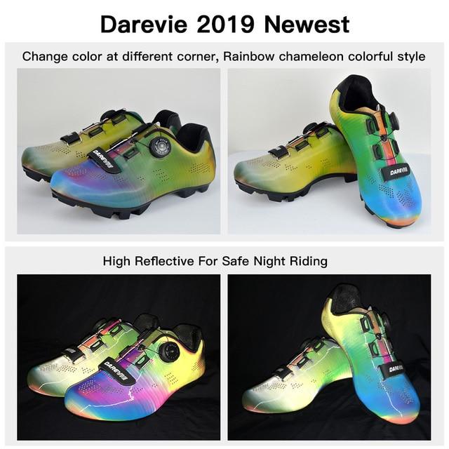 Darevie 2020 sapatos de ciclismo camaleão mtb ciclismo luz pro mountain bike sapatos spd reflexivo professionl 5