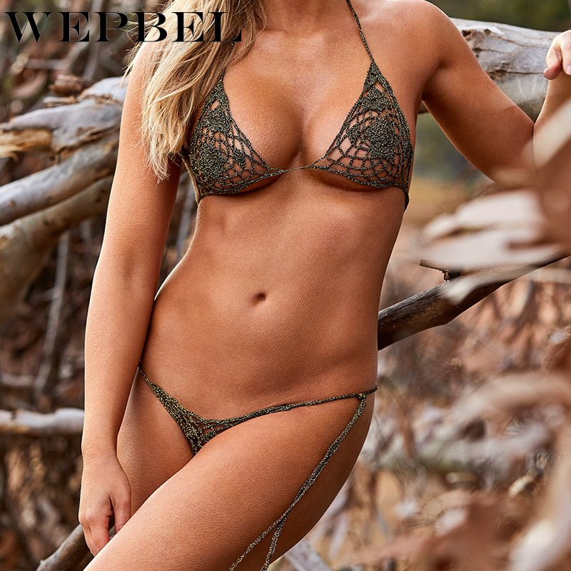 Fashion 2Pcs Women Swimwear Bikini Set Beachwear Hollow Swimsuit Bathing Suit