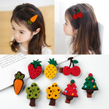 M MISM New Korean Non-Woven Fabric Cute Hair BB Clip For Girls Fruit Hair Accessories Lovely Cartton Vagatable Children Hairpins(China)
