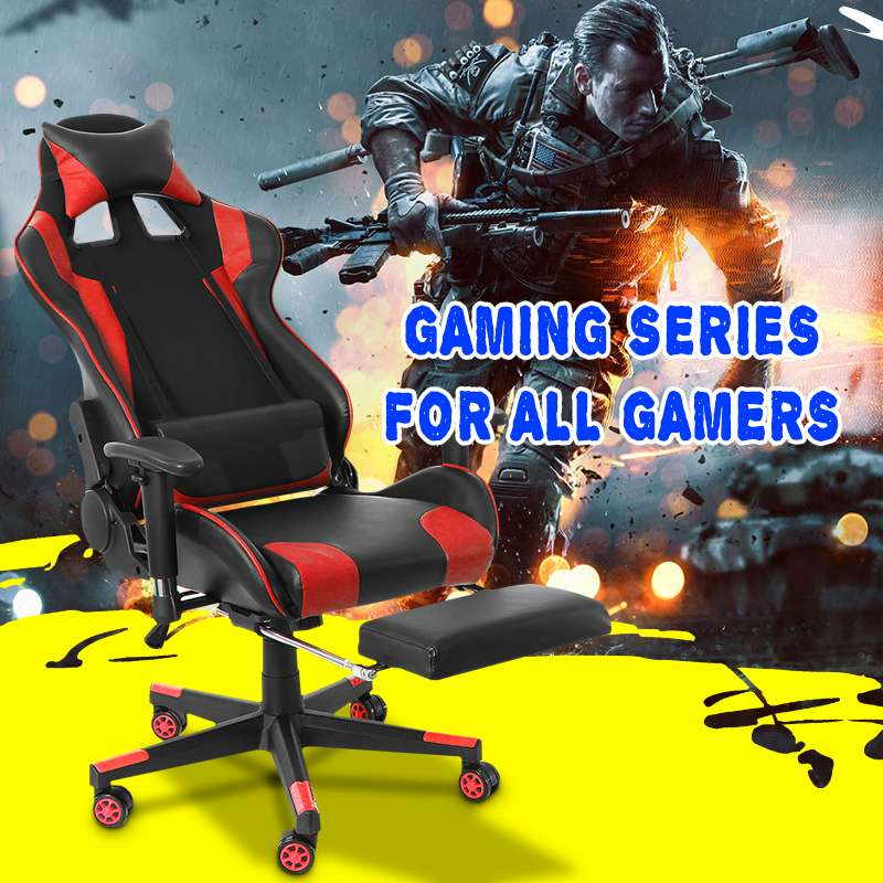 Office Chair Adjustable Armrests High-Back PU Leather Laptop Desk Chair Gaming Armchair With Footrest For Home Office Furniture