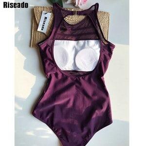 Image 5 - Riseado mulher roupa de banho de uma peça maiô 2020 sexy malha swim wear alta pescoço preto beach wear plus size xxl