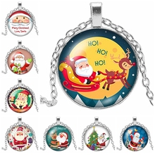 2019 New Beauty Fashion Merry Christmas Round Photo Glass Cabochon Santa Claus Pattern Gift Necklace