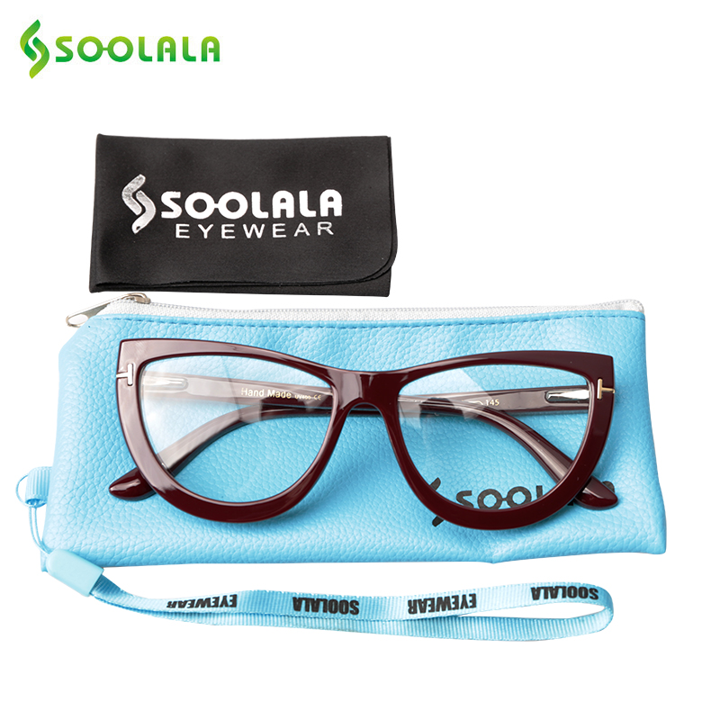 SOOLALA Oversized Cat Eye Eyeglasses Frame Womens Spring Hinge Clear Lens Female Myopia Optical Computer Transparent Glasses image