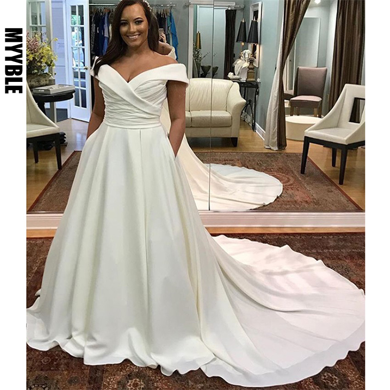 Off Shoulder Plus Size Wedding Dress V Neck White Ivory Robe De Mariee Pleats Satin Zipper Back Bridal Dress Chapel Train