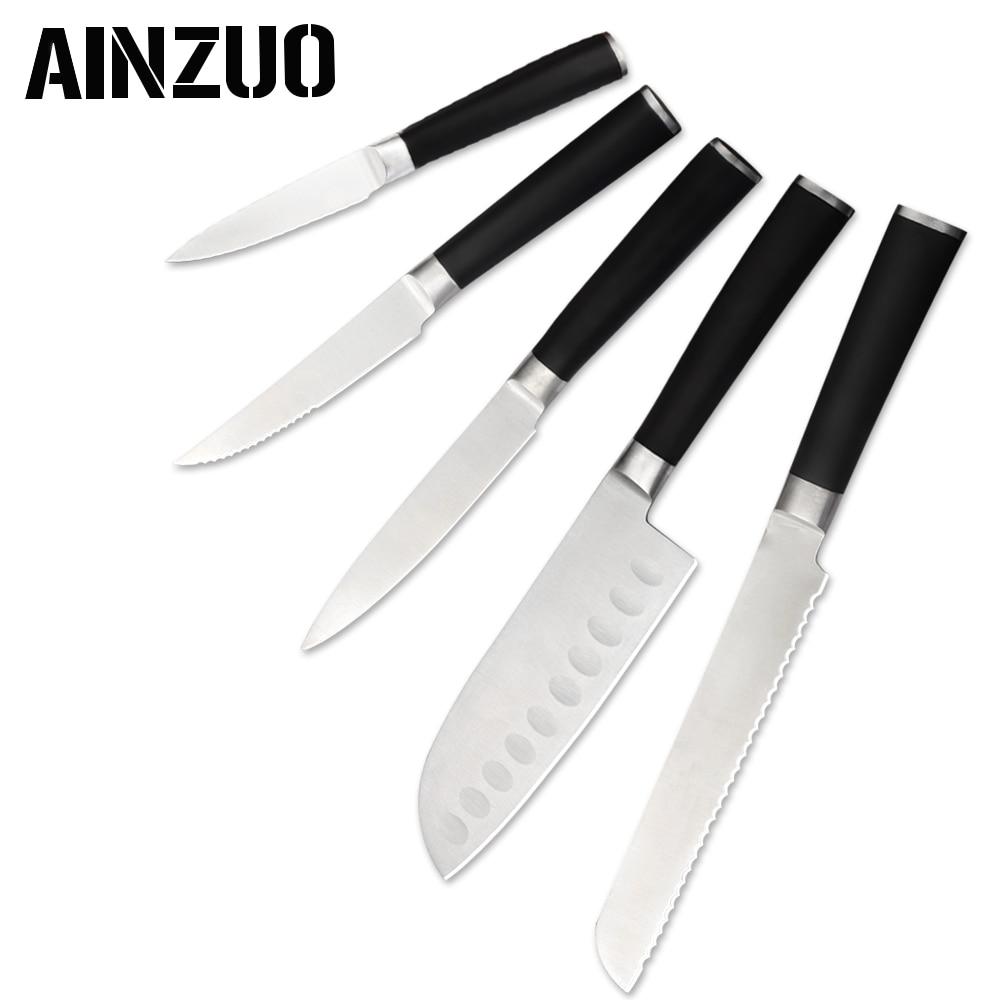 AINZUO 5 Pcs Kitchen Knife Stainless Steel Set Fruit Steak Utility Santoku Bread Accessories Tools
