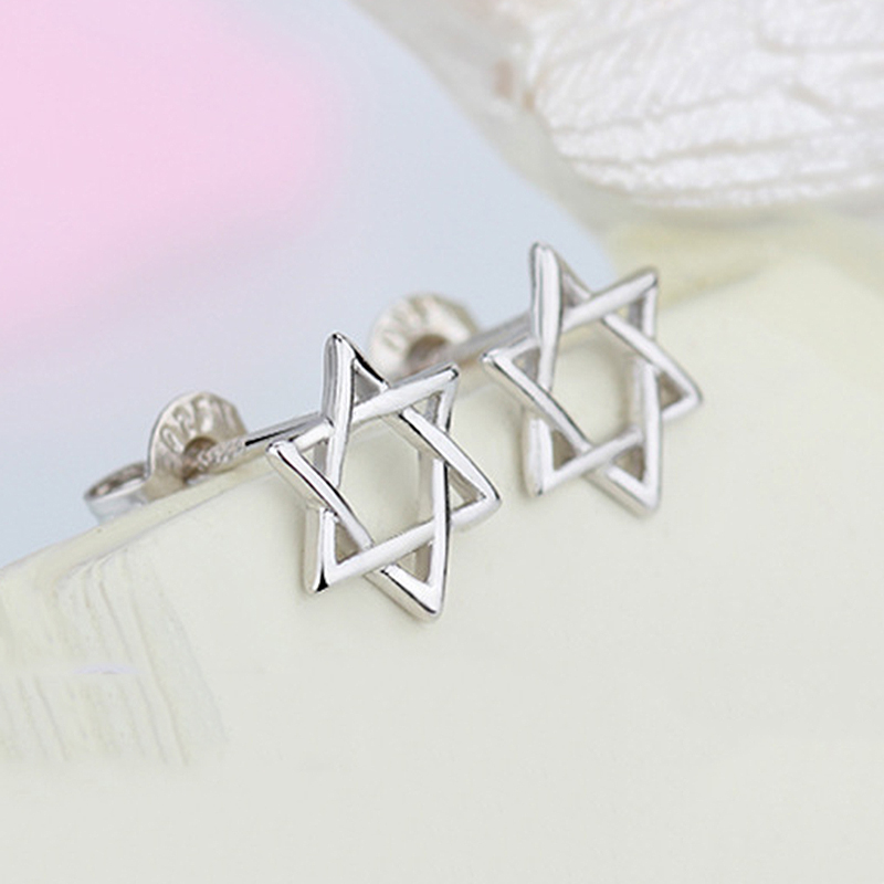 MEETSOFT Silver PlatedPrevent Allergy Fashion Stud Earrings for Women Design Trendy Hollow Out Hexagon Star Small Jewelry Gift
