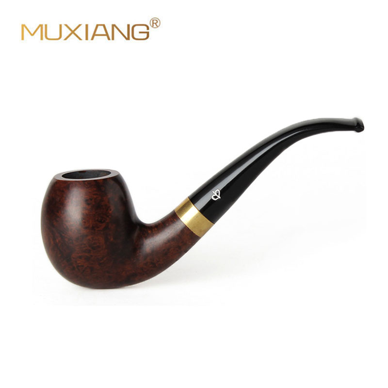 RU-NewBee  Briar Wood flared Handmade Bent Smoking pipe with gold ring Tobacco Pipe with 9mm filter aa0078s