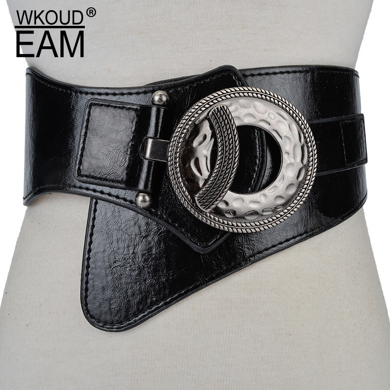 WKOUD EAM 2020 New Fashion Autumn Winter Trendy Wide Belt For Women Solid Leather Metal Buckle Casual Cummerbunds Female ZJ942