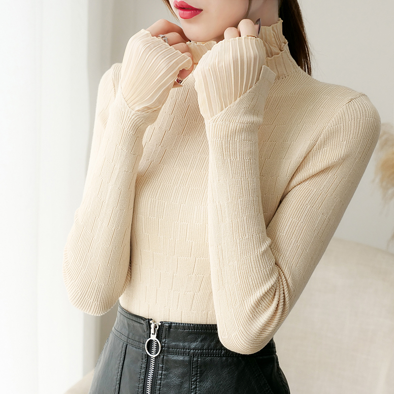 Turtleneck Women Sweater Knitted Tops Autumn Winter Soft Chiffon Long Sleeve Women Sweater Jumper Pullovers Tricot Pull Femme