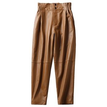 Genuine leather pants women winter 2020 new fashion elastic high waist pants women plus size  harem pants casual trouser female 1