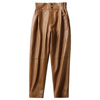 Pantalones de cuero genuino para mujer, Invierno 2020, nueva moda, pantalones elásticos de cintura alta, pantalones harem de talla grande para mujer, pantalones informales para mujer