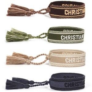 Pulseira de amizade tecida para mulheres pulseira trançada de algodão com borla corda ajustável amante pulseiras bordado jóias 2021