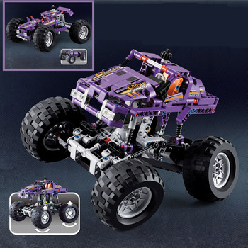 2 in 1 Bigfoot Monster Racing off-road vehicle jeep Truck fit technic Building Block Brick Toy  1