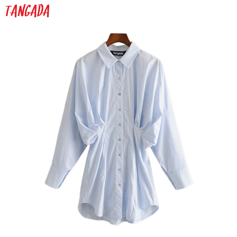 Tangada Women Oversized Blue Pleated Cotton Shirts Long Sleeve Elegant Office Ladies Work Wear Blouses 3H241