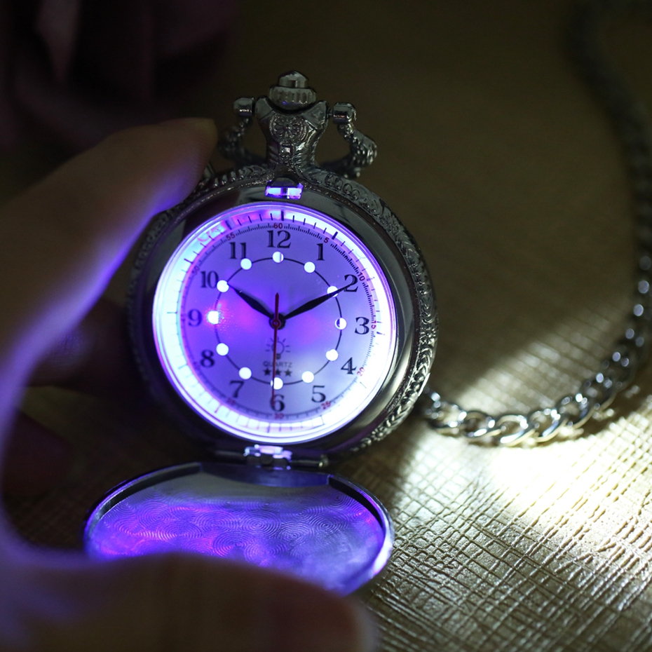 Noctilucent LED Flash Quartz Pocket Watch Unique Bronze/Silver/Gold Train Locomotive Engine FOB Luminous Chain Hour Luxury Clock