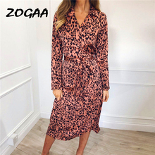 ZOGAA Leopard Print Party Dress Women Summer Chiffon Long Sleeve Casual Midi Turn-Down Collar Shirt Dresses Vestidos Verano 2019 giyu summer women shirt dress casual striped printing dresses turn down collar vestido long sleeve basic robe femme