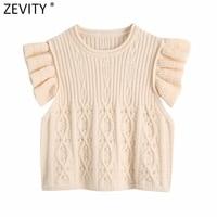 Zevity Neue Frauen Mode Häkeln Stricken Pullover Dame Pilz Spitze Rüschen Ärmellose Beiläufige Dünne Weste Crop Pullover Tops SW821