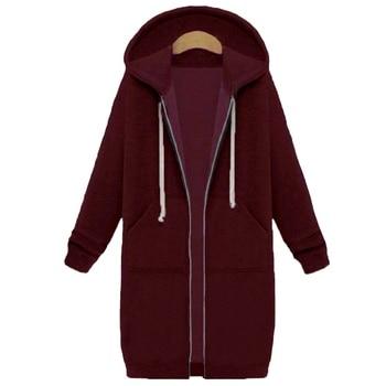 Spring 2020 Casual Hoodie Zipper Long Coat Sweatshirt Women Zip Up Loose Oversized Jacket Coat Women Hoodies Outwear Tops 12