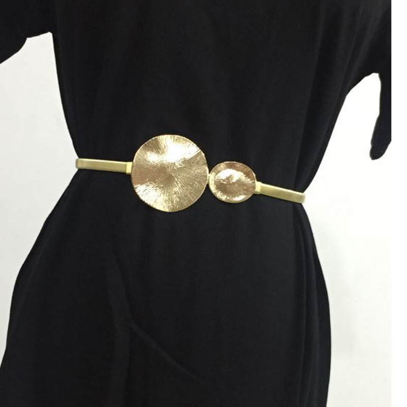 2020 New Fashion Spring Trendy Metal Belt For Women Elastic Alloy Round Buckle Solid Hot Sale All-match Waistband Female ZK304