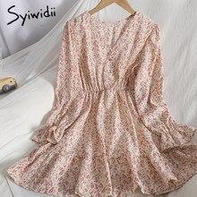 Syiwidii – robes à imprimé Floral pour femmes, vêtements à volants épissés, taille haute, manches bouffantes, col en v, ligne a, été 2021