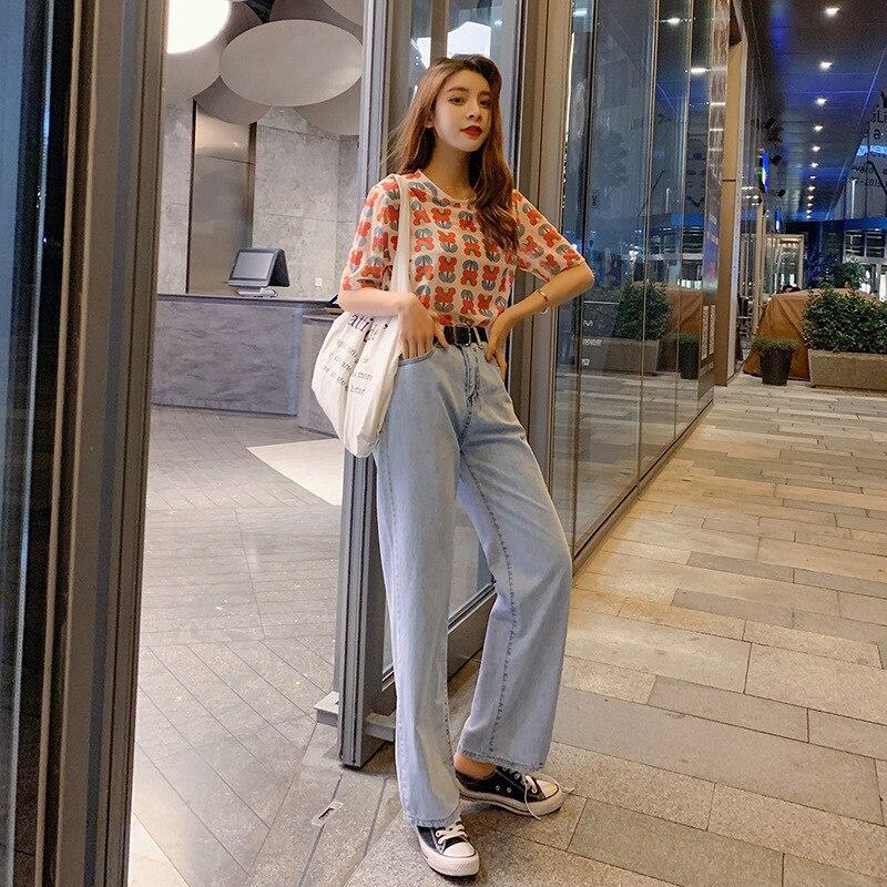 Customizable 2019 Korean-style New Style Summer Short-sleeved T-shirt Tops + High-waisted Straight-Cut Versatile Jeans Women's F