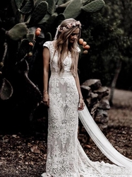 Kurzarm Spitze Mantel Boho Böhmischen Hochzeit Braut Kleid