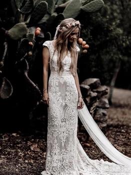 Short Sleeve Lace Sheath Boho Bohemian Wedding Bride Dress REAL PHOTO FACTORY PRICE CUSTOM MADE
