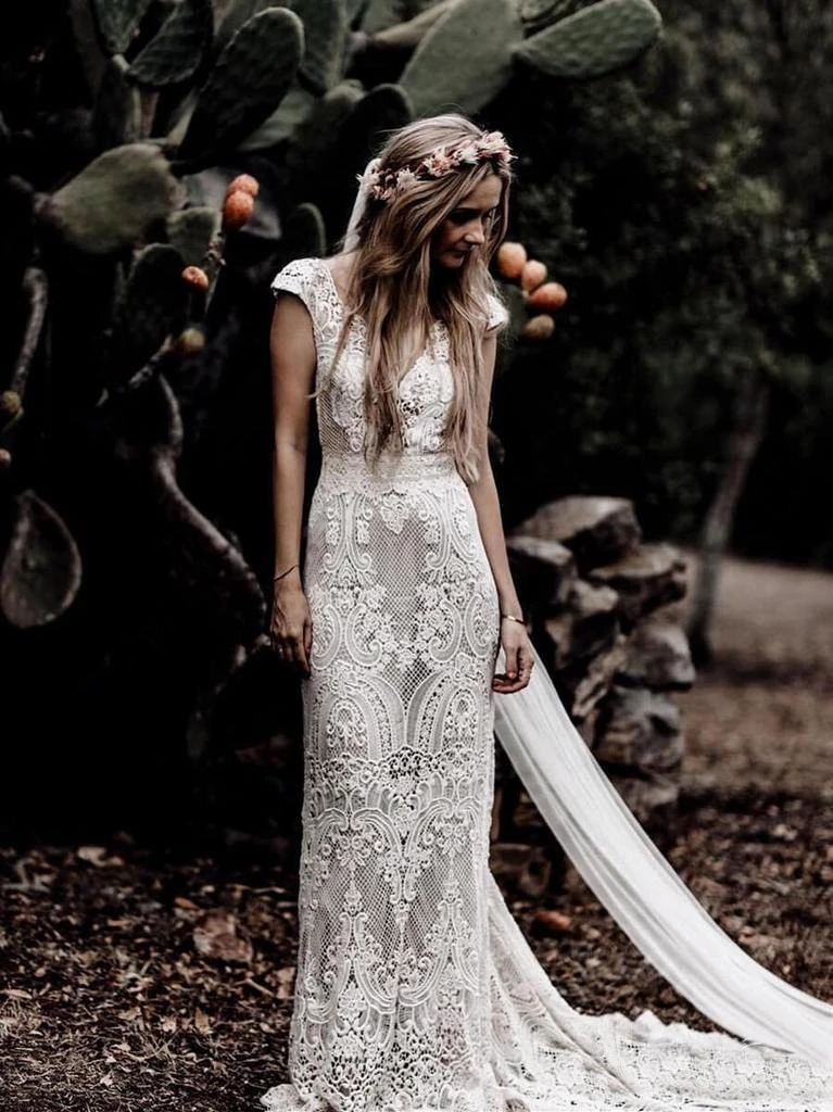 Short Sleeve Lace Sheath Boho Bohemian Wedding Bride Dress