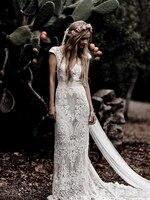Short Sleeve Lace Sheath Boho Bohemian Wedding Bride Dress