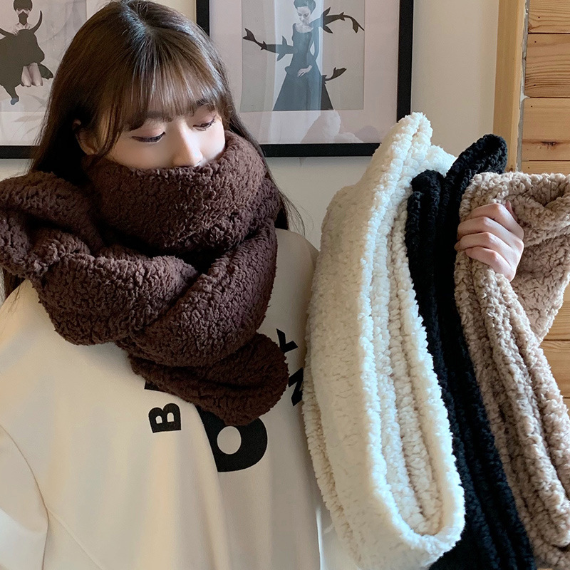 Autumn And Winter Double-sided Solid Color Lambskin Scarf Female Korean Wild Fashion Shawl New Warm Japanese Scarf Scarf