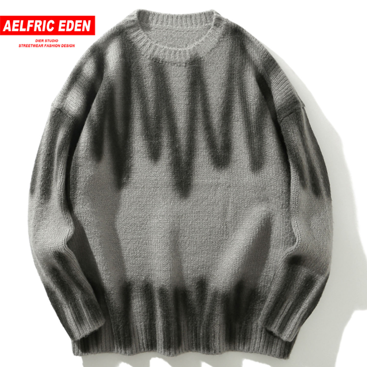 Aelfric Eden Wave Spray Paint Knitted Mens Sweaters Harajuku Hip Hop Tops 2019 Fashion Casual Male Pullovers Outwear Streetwear