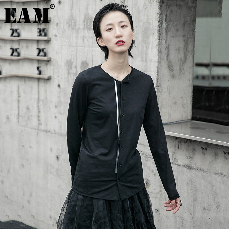 [EAM] Women Black Ribbon Split Joint Temperament T-shirt New Round Neck Long Sleeve  Fashion Tide  Spring Autumn 2020 1R594