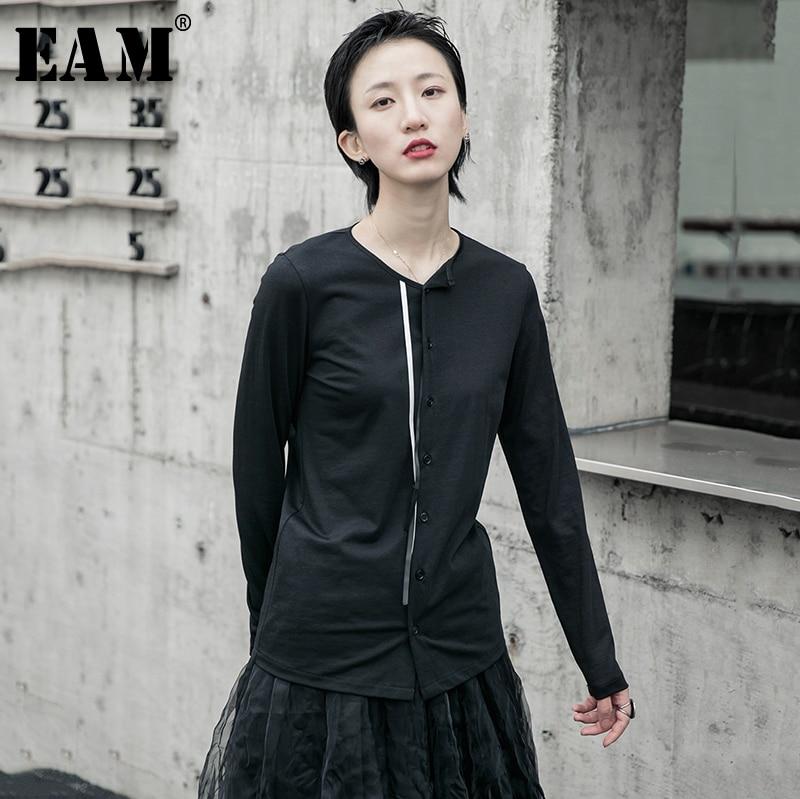 [EAM] Women Black Ribbon Split Joint Temperament T-shirt New Round Neck Long Sleeve  Fashion Tide  Spring Autumn 2020 1R594