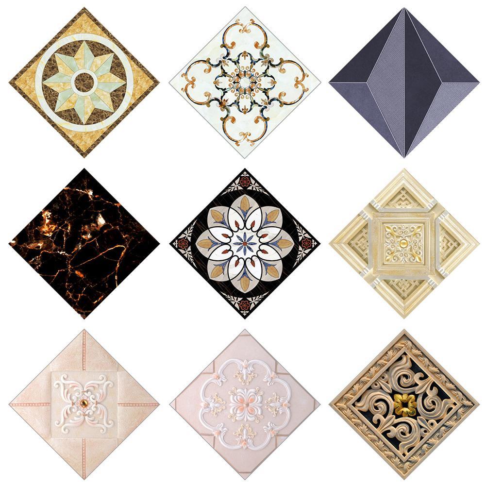 New 10Pcs Kitchen Bathroom Self-adhesive PVC Waterproof Floor Tile Diagonal Sticker floor stickers waterproof tiles