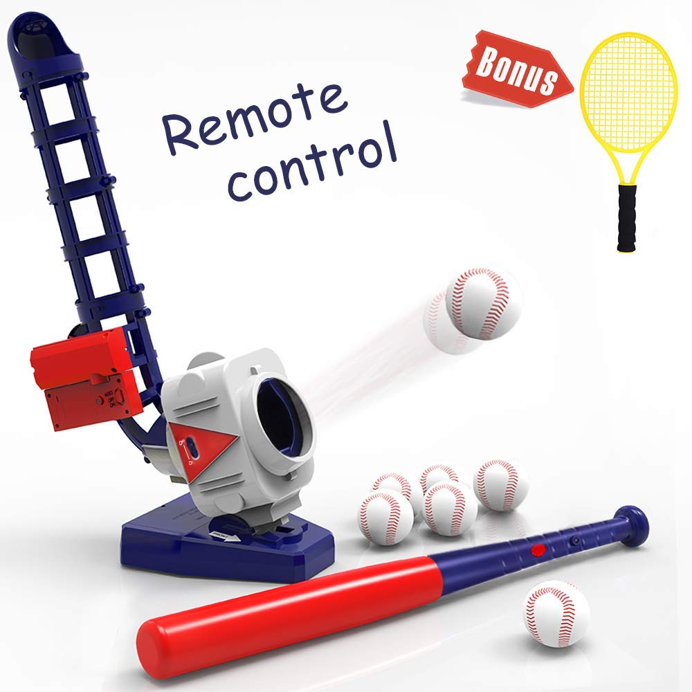 iPlay, iLearn 2 in 1 Baseball & Tennis Pitching Machine, Remote Control Bat Outdoor Sport Games, Gifts for <font><b>5</b></font>, <font><b>6</b></font>, 7 Year Olds Kid image