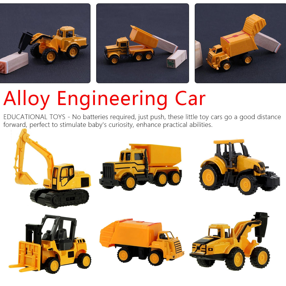 Mini Alloy Diecast Engineering Toy Vehicle 1:64 Metal Car Set Dump Truck Forklift Excavator Mixer Tractor Toys Children Gift