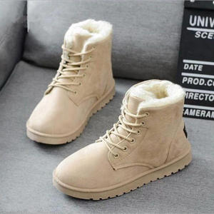 Winter Boots Shoes Woman Warm Flat Women No Ankle Cow-Suede New