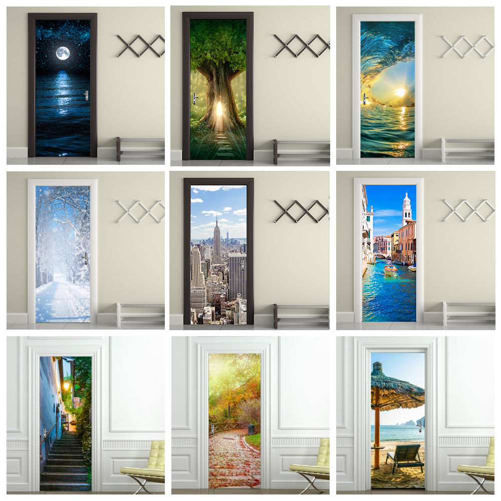 Home Decoration 3d Deur Sticker Adesivi Per Porte Landscape Art Wallpaper On The Door Waterproof Deurposter For Wall Door Decor