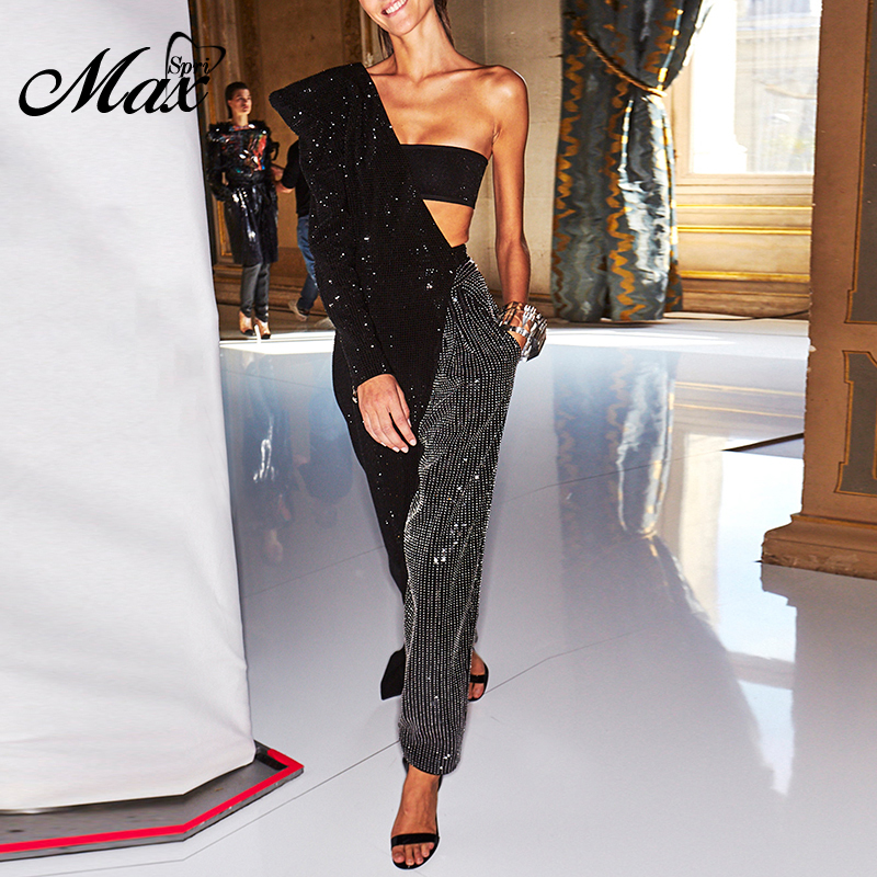 Max Spri 2019 New Fashion Punk Style One Shoulder Cut Out Long Crop Top Sequines Wide Leg Pants Women Party Two Piece Sets Suits in Women 39 s Sets from Women 39 s Clothing