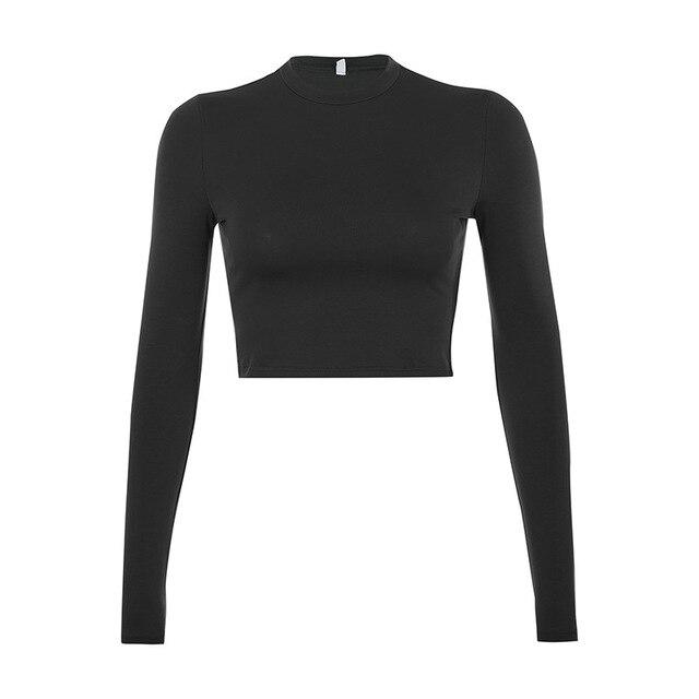 Solid Basic Long Sleeve Womens Tshirt Casual Black White Fashion Crop Top T Shirt Ladies Fashion Korean Tee Shirt 6