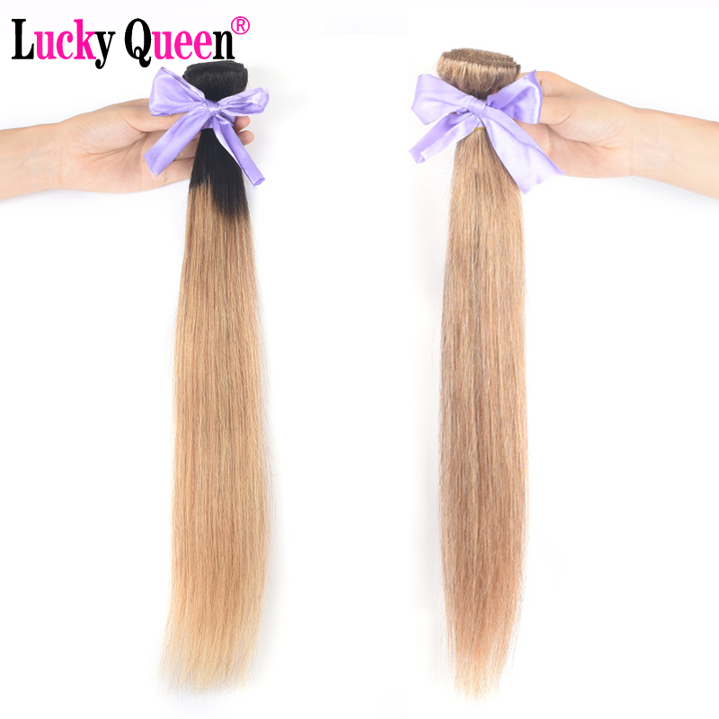 Image 5 - Lucky Queen Brazilian Straight Hair Weave Bundles Non Remy Human Hair color 1B/2/4/27/99J/Burgundy Ombre Hair Bundles 8 30 Inch-in Hair Weaves from Hair Extensions & Wigs