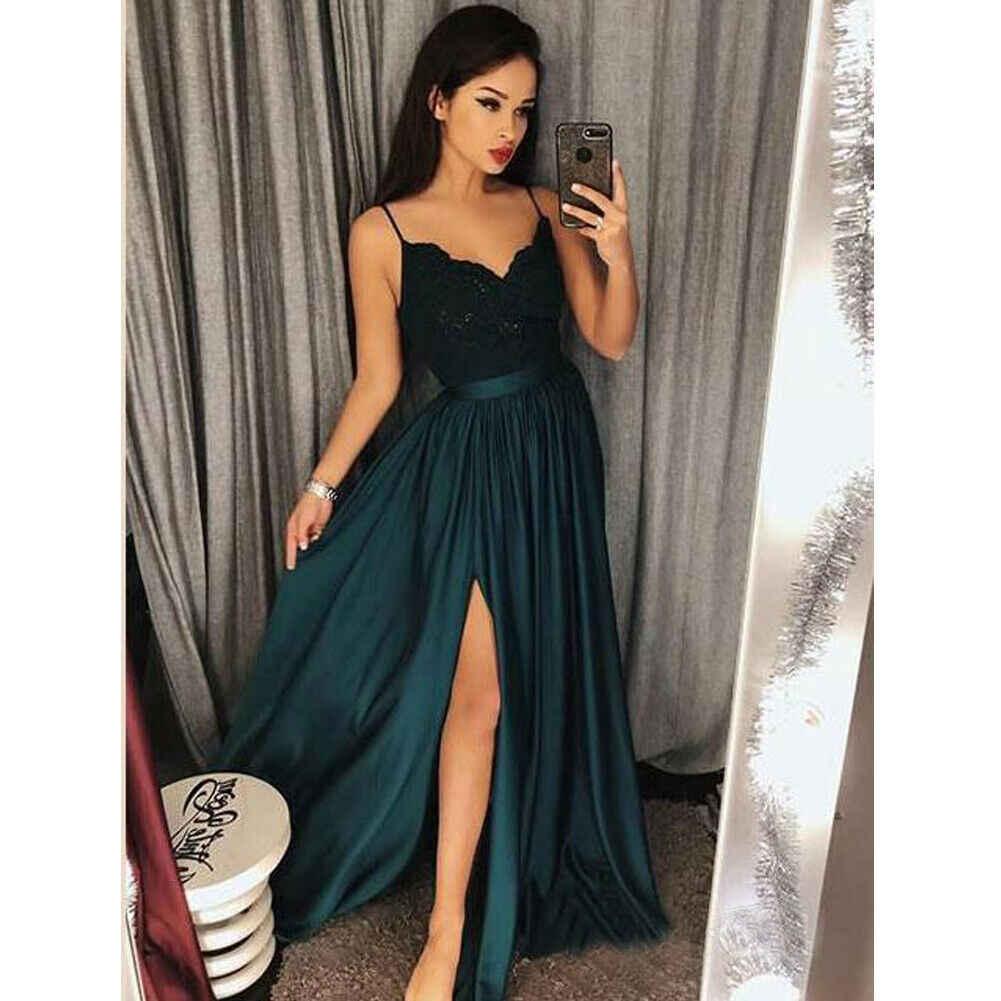 2020 אלגנטי נשים תחרה V-צוואר רצועות ארוך נשי סקסי ערב מסיבת נשף שמלת שמלה מלאה בגדים